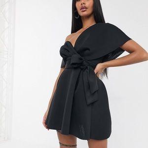 Black Fallen Shoulder Cocktail Dress